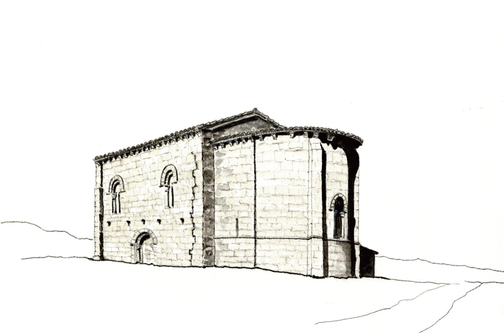 Dibujo de la iglesia de Matalbaniega realizado por Juan Carlos Prieto