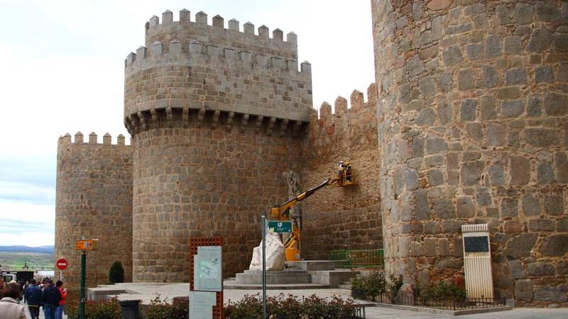 Vista general de la colocación de sensores en la muralla de Ávila